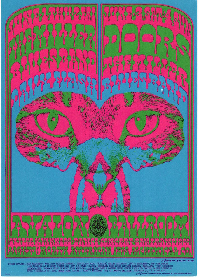Steve Miller Blues Band and The Doors: Family Dog Productions Concert Postcard (1967). Chet Helms, Victor Moscoso.