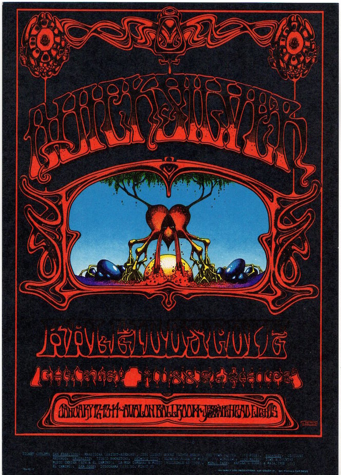 Quicksilver Messenger Service and Charley Musselwhite: Family Dog Productions Concert Postcard (1968). Chet Helms, Rick Griffin.