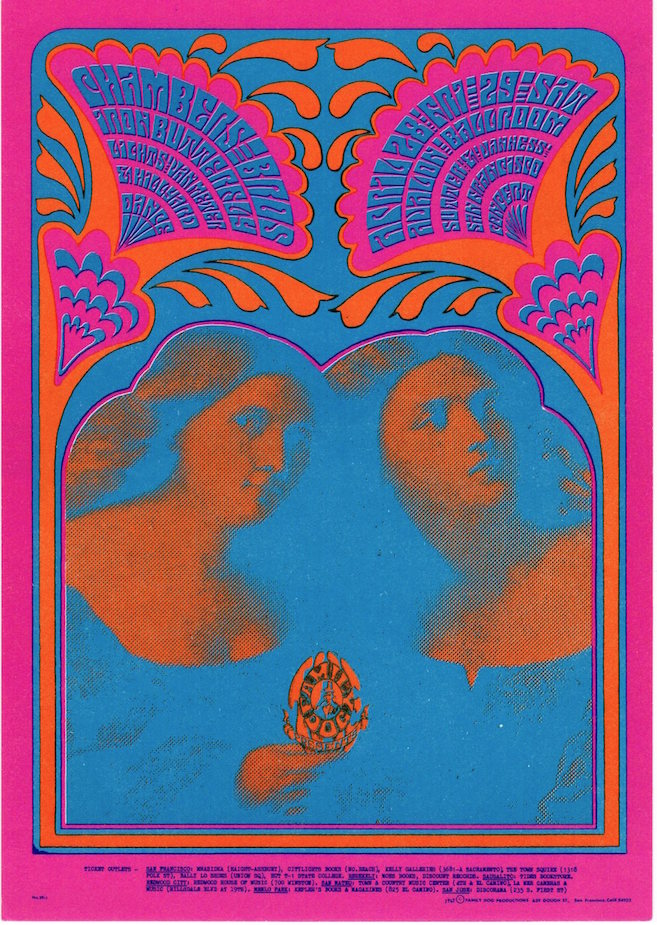 The Chamber Brothers and Iron Butterfly: Family Dog Productions Concert Postcard (1967). Chet Helms, Victor Moscoso.