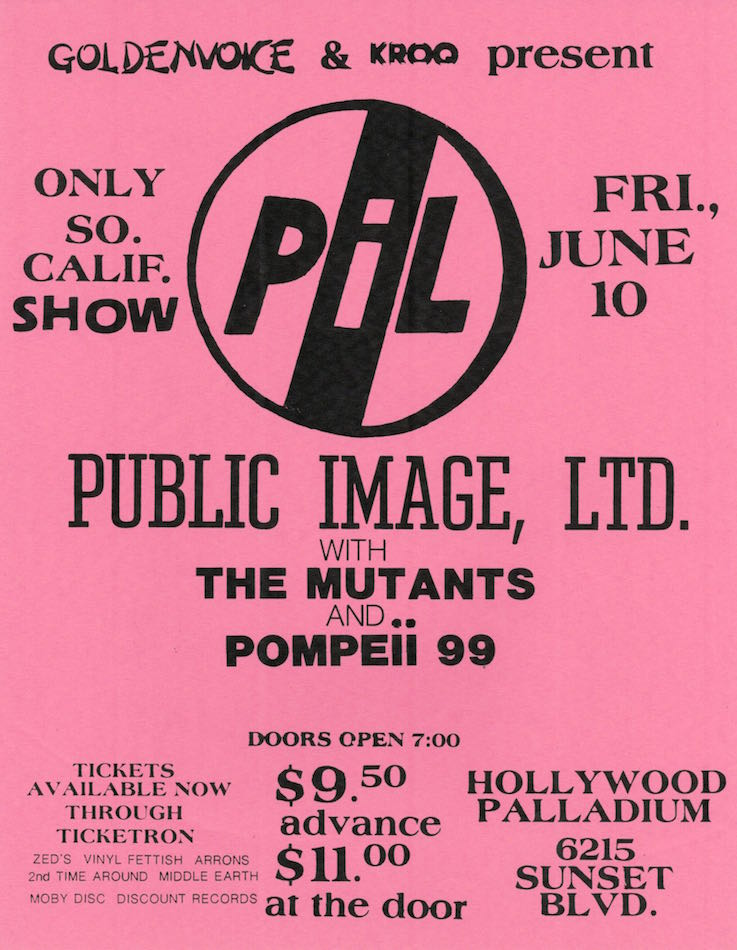 PIL at the Hollywood Palladium, Concert Flyer (1983)