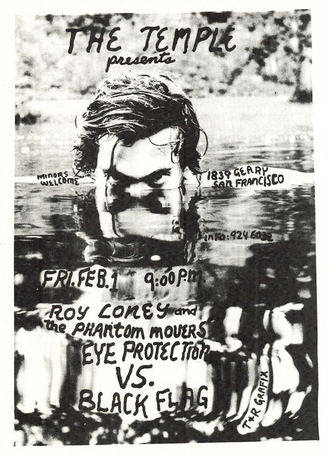 Roy Loney, Eye Protection and Black Flag (opening) at the Temple, Concert Flyer (1980)
