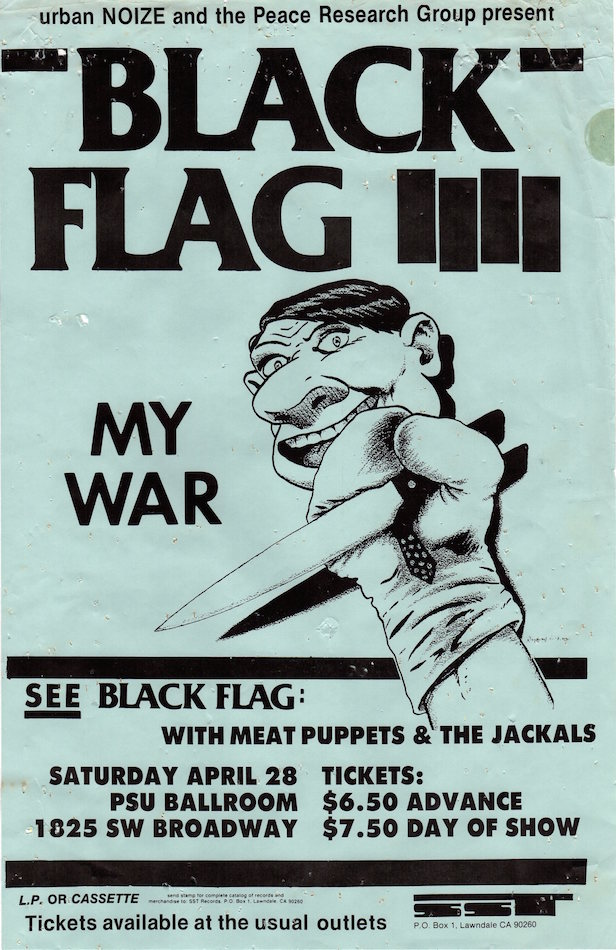 Black Flag plus Meat Puppets & The Jackals at PSU Ballroom, Concert Poster (1984)