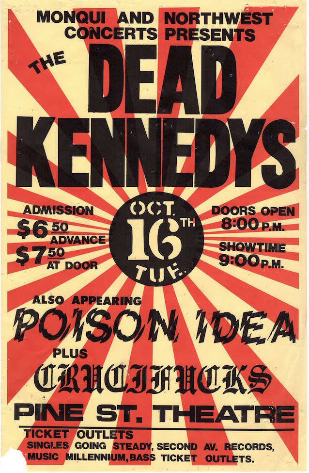 Dead Kennedys, Poison Idea and Crucifucks at Pine St. Theater, Concert Poster (1984)