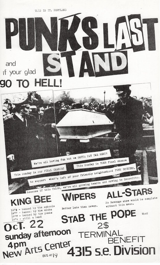 Punk's Last Stand Flyer (1978). Mark Sten, Mike King.