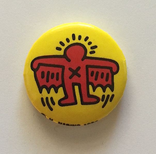 Flying Winged Devil Button (1988). Keith Haring.