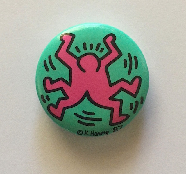 Dancing Figure Button (Turquoise / Pink 1987). Keith Haring.