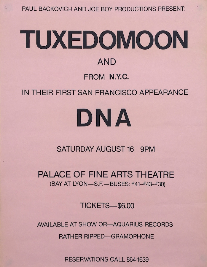 Tuxedomoon and DNA at the Palace / SF (1979)