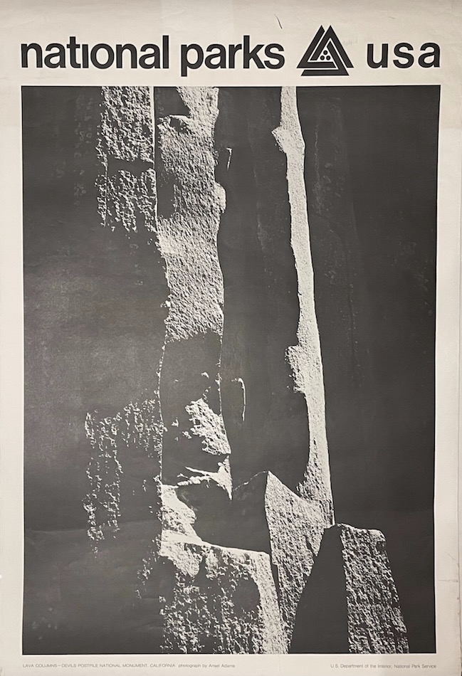 National Parks Poster: Lava Columns at Devils Postpile National Monument, Photo by Ansel Adams (1968). Ansel Adams.
