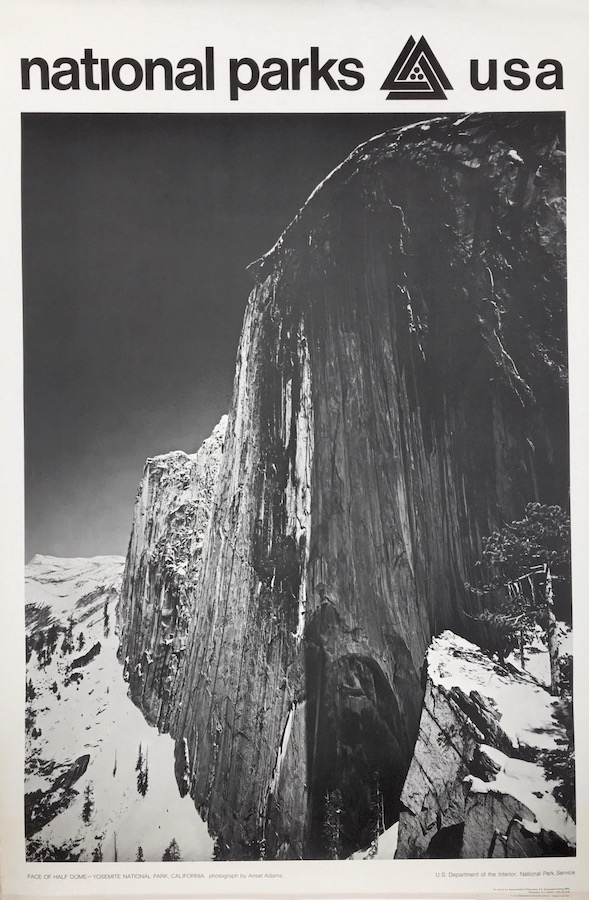 National Parks Poster: Half Dome at Yosemite National Park, Photo by Ansel Adams (1968). Ansel Adams.