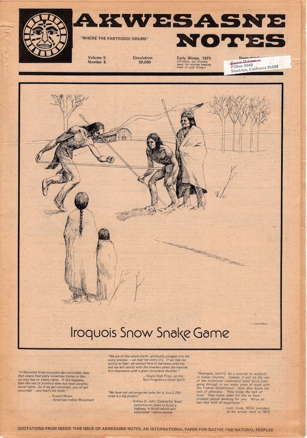 Akwesasne Notes: Early Winter 1973; Vol. 5, No. 6