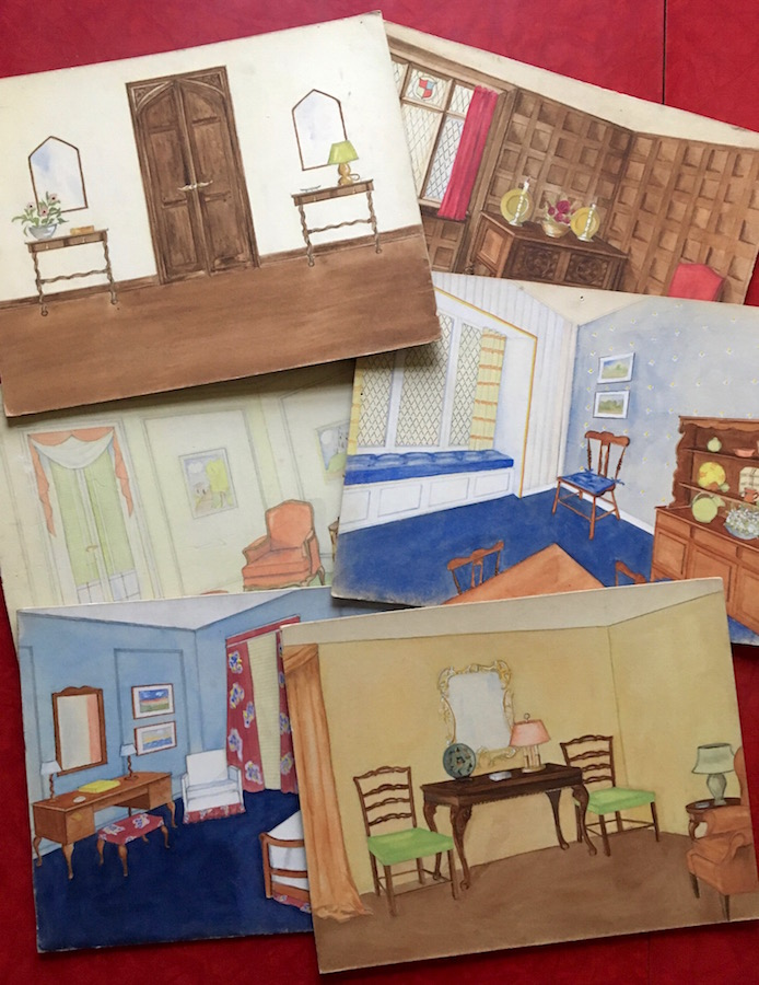 A Collection of 6 Original Interior Design Watercolor Paintings, circa 1930s. Artist Unknown.
