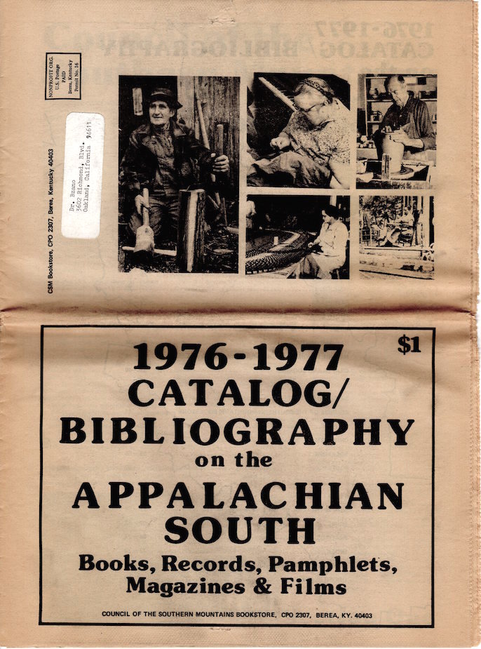 1976-1977 Catalog/Bibliography on the Appalachian South; Books, Records, Pamphlets, Magazines & Films