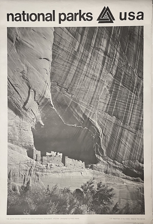 National Parks Poster: The White House at Canyon de Chelly National Monument, Photo by Ansel Adams (1968). Ansel Adams.