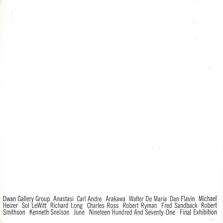 Dwan Gallery Group: Final Exhibition 1971