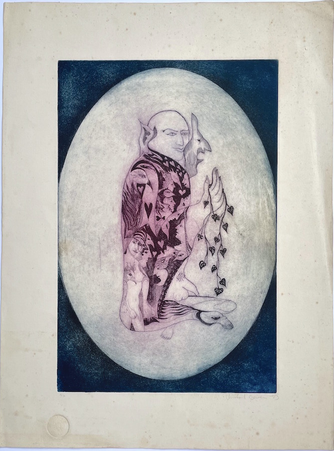 Original Signed Etching: Untitled (Figure in Oval, 1973). Michael Bowen.