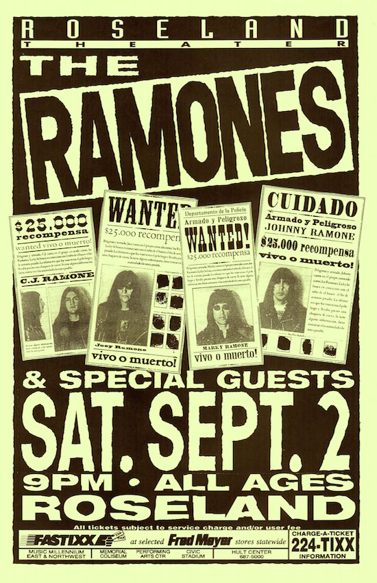 The Ramones at Roseland Theater. Mike King.