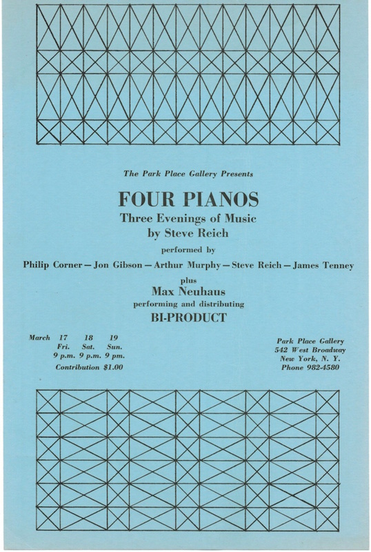 Four Pianos: Three Evenings of Music & Continuous Tape Music [Set]. Steve Reich.