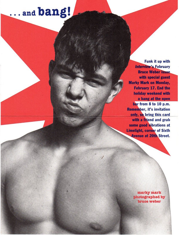 Marky Mark Interview Magazine Party Invite