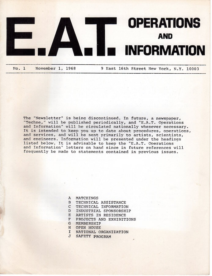 E.A.T. Operations and Information: Newsletter No. 1