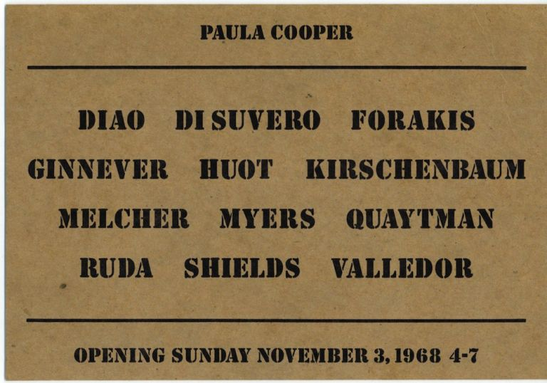 Paula Cooper Gallery: Group Show 1968