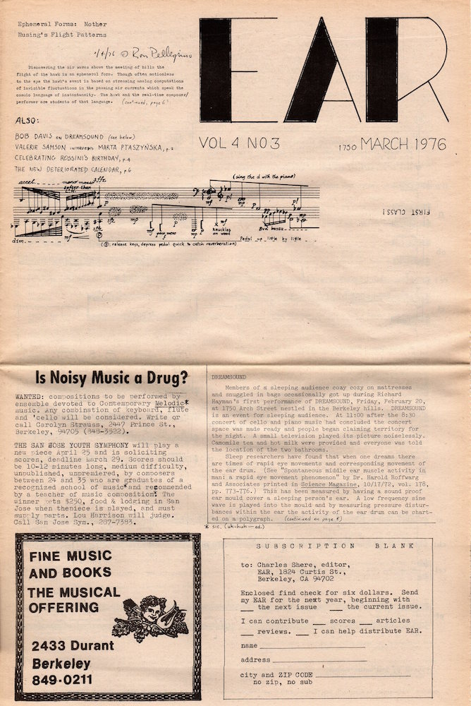 EAR Magazine: March 1976; Volume 4, Number 3. Charles Shere, Ed.