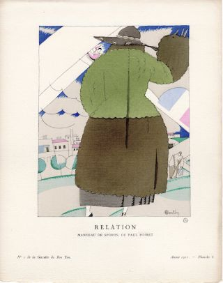 Gazette du Bon Ton Pochoir Print: Manteau de Sports. Paul Poiret