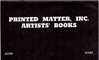 Printed Matter, Inc. Artists' Books Catalog/Supplement (1978
