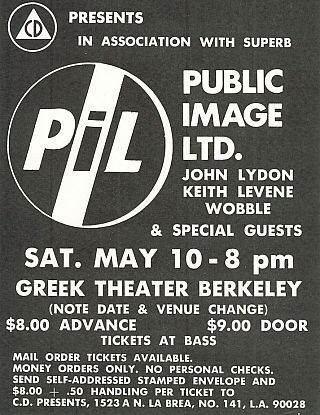 PIL at the Greek Theater, Berkeley Concert Flyer (1980