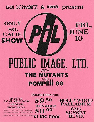 PIL at the Hollywood Palladium, Concert Flyer (1983