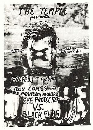 Roy Loney, Eye Protection and Black Flag (opening) at the Temple, Concert Flyer (1980