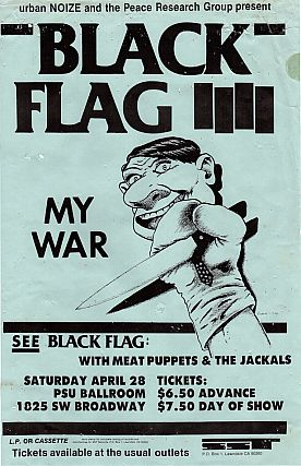 Black Flag plus Meat Puppets & The Jackals at PSU Ballroom, Concert Poster (1984