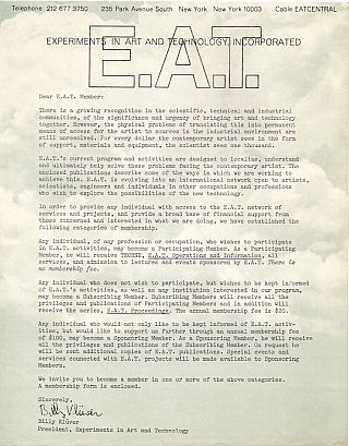 E.A.T. (Experiments in Art & Technology) Archive of 46 Items