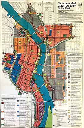 Portland Recommended Central City Plan Map (1987