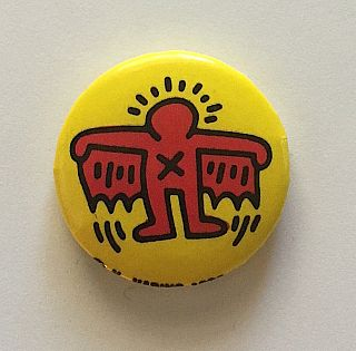 Flying Winged Devil Button (1988). Keith Haring