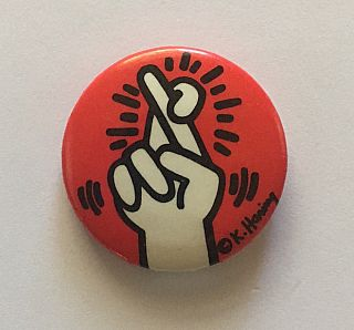 Fingers Crossed Button (circa 1986