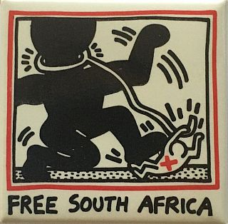 Free South Africa Button (1988). Keith Haring