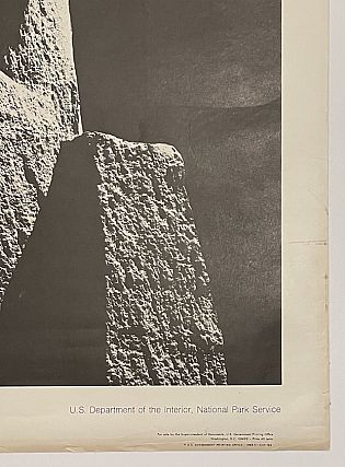 National Parks Poster: Lava Columns at Devils Postpile National Monument, Photo by Ansel Adams (1968)