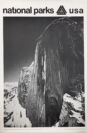 National Parks Poster: Half Dome at Yosemite National Park, Photo by Ansel Adams (1968). Ansel Adams