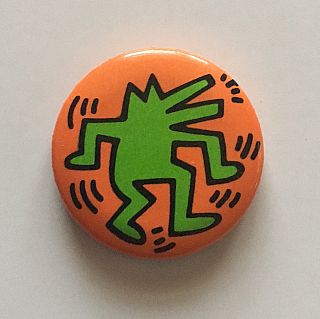 Dancing and Barking Dog Button (Orange/Green 1986
