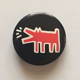 Barking Dog Button (Black background, circa 1987