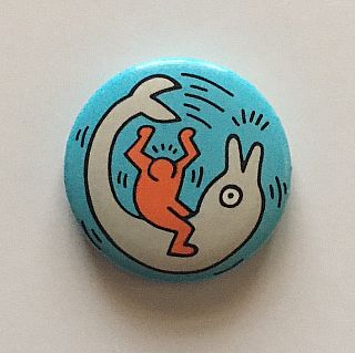 Figure and Dolphin Button (circa 1988