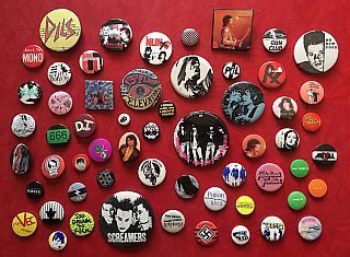 Punk Rock and Rock Music Button Collection: 58 Buttons (1960s-'90s