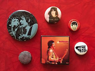 Punk Rock and Rock Music Button Collection: 58 Buttons (1960s-'90s)