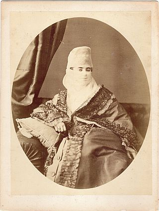 Albumen Photographic Print: Veiled Turkish Woman (Egypt, Circa 1880