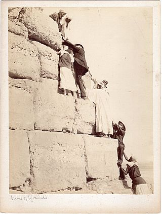 Albumen Photographic Print: Ascent of Pyramids (Egypt, Circa 1880