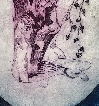 Original Signed Etching: Untitled (Figure in Oval, 1973)