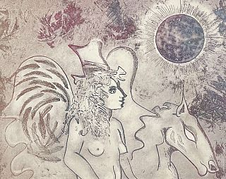 Original Signed Etching: Untitled (Figure with Pegasus, 1974)