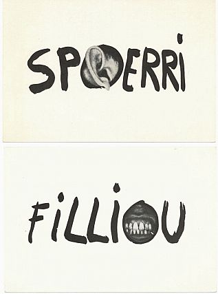 Daniel Spoerri and Robert Filliou Flux Post Cards; Monsters are Inoffensive. Daniel Spoerri,...