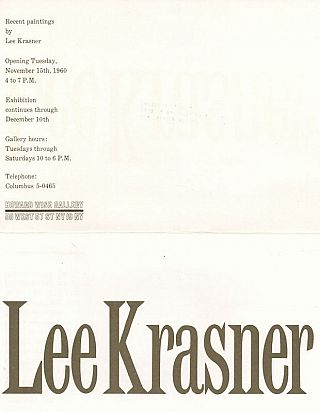 Lee Krasner: Recent Paintings 1960. Lee Krasner