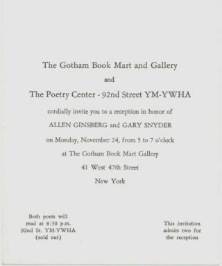 Gotham Book Mart and The Poetry Center: Winter Calendar 1969-1970